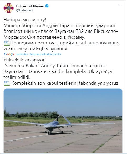 ilk bayraktar tb2 ukrayna donanmasina teslim edildi silahli insansiz hava araci siha iha ukrayna deniz kuvvetleri
