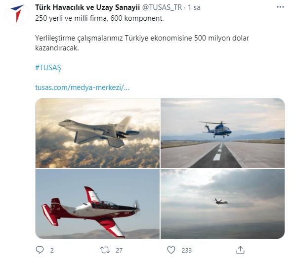 turk havacilik ve uzay sanayii tusas komponent yerlilestirme 600 urun 500 milyon dolar 250 yerli ve milli havacilik firmasi