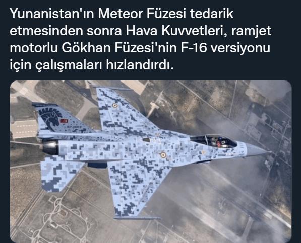 meteor fuzesi muadili gokhan hava hava fuzesi f 16 versiyonu ozgur f 16 aesa radar